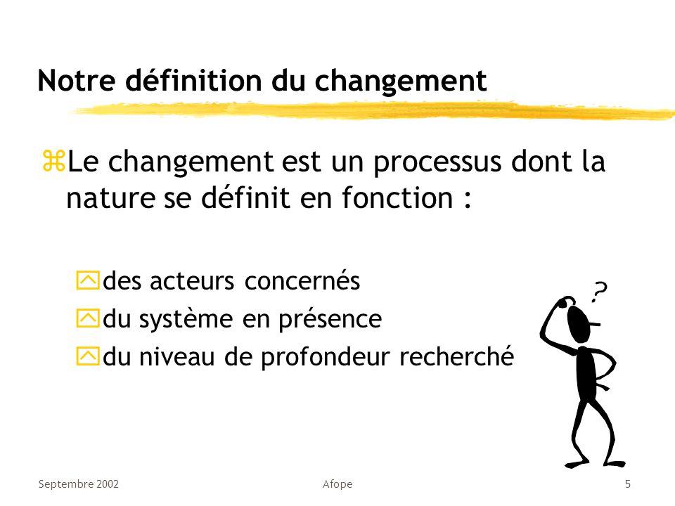 Septembre 2002Afope5 Notre définition du changement zLe changement est un processus dont la nature se définit en fonction : ydes acteurs concernés ydu système en présence ydu niveau de profondeur recherché
