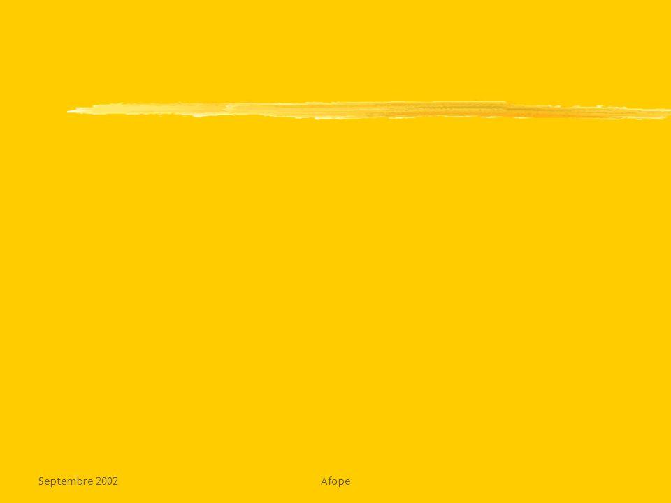 Septembre 2002Afope18 Le livrable : le contrat de changement Contexte de départ validé Contexte de départ validé Périmètre validé Pilotage organisé Position et alliés de l'organisateur Acteurs mobilisés Points de référence identifiés Indicateurs identifiés Risques,freins,écueils identifiés zCONTRAT DE CHANGEMENT (écrit, signé) zentre le commanditaire, le chef de projet, les acteurs concernés zenregistre tous les éléments ci-dessus zconsigne les accords relationnels zprévoit les règles d ajustement zfavorise la créativité permanente Enjeux du changement