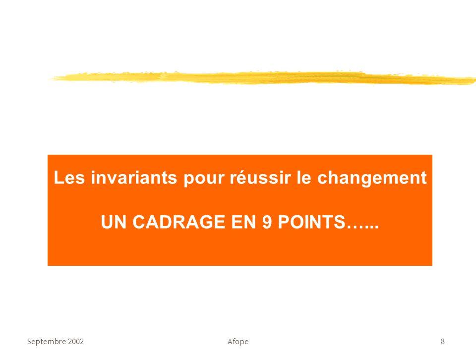 Septembre 2002Afope8 Les invariants pour réussir le changement UN CADRAGE EN 9 POINTS…...