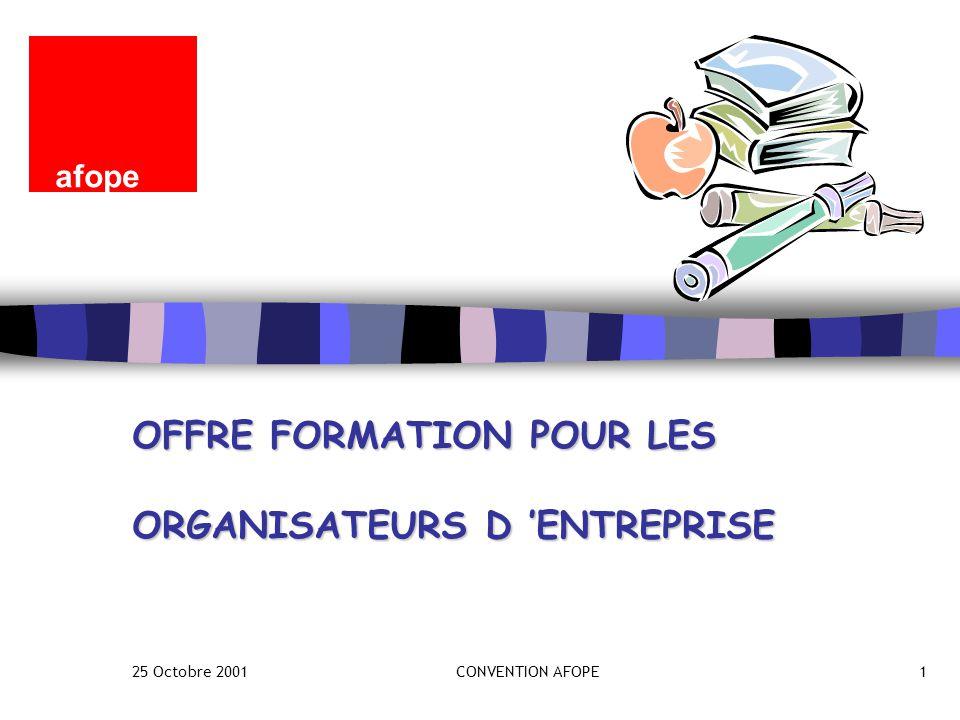 25 Octobre 2001CONVENTION AFOPE1 OFFRE FORMATION POUR LES ORGANISATEURS D 'ENTREPRISE afope