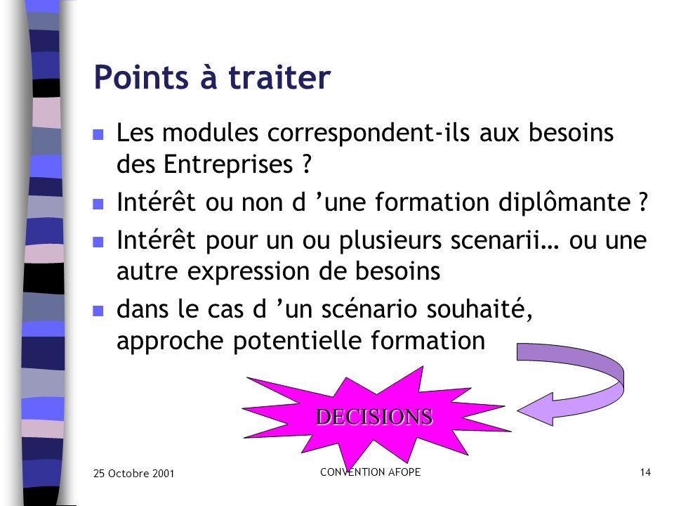 25 Octobre 2001 CONVENTION AFOPE14 Points à traiter n Les modules correspondent-ils aux besoins des Entreprises .