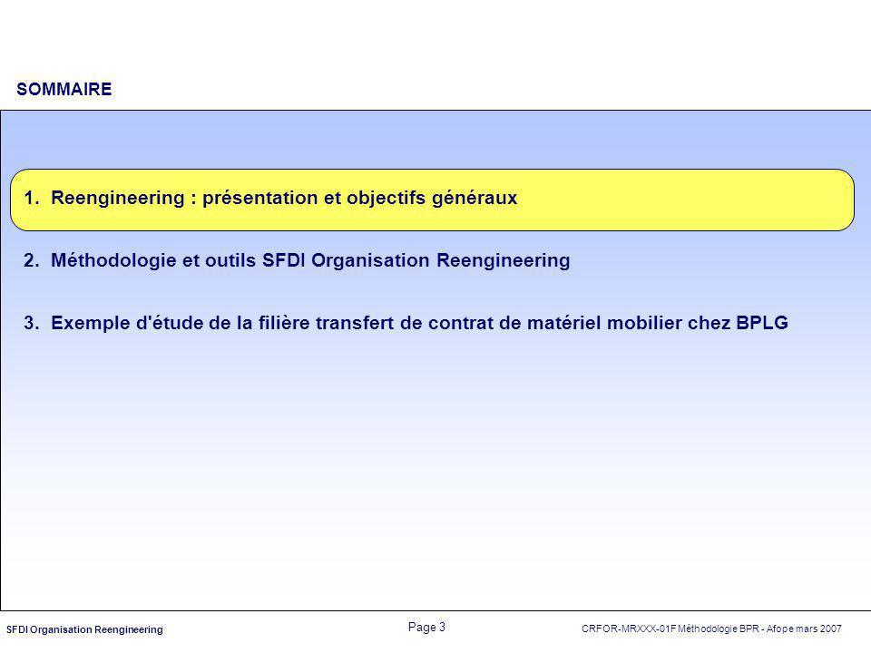 CRFOR-MRXXX-01F Méthodologie BPR - Afope mars 2007 Page 3 SFDI Organisation Reengineering SOMMAIRE 1.Reengineering : présentation et objectifs générau