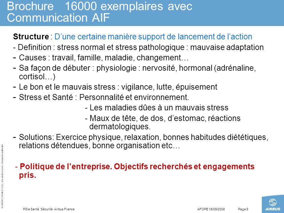 © AIRBUS FRANCE S.A.S. Tous droits réservés. Document confidentiel. AFOPE 18/09/2008Pôle Santé Sécurité Airbus FrancePage 9 Brochure 16000 exemplaires