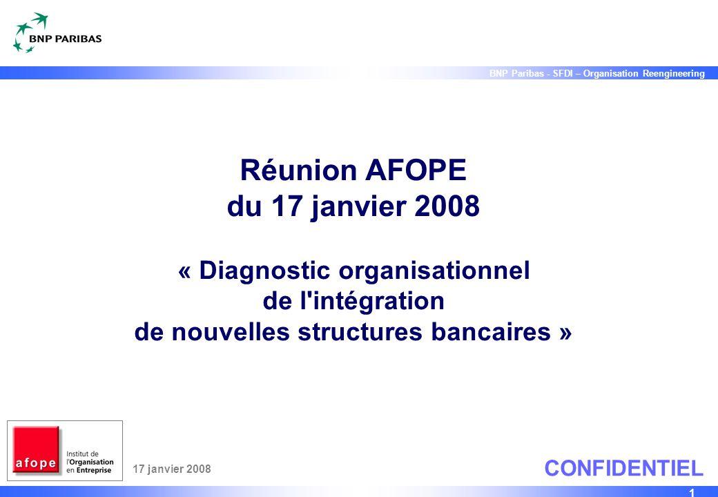 1 BNP Paribas - SFDI – Organisation Reengineering Réunion AFOPE du 17 janvier 2008 « Diagnostic organisationnel de l'intégration de nouvelles structur