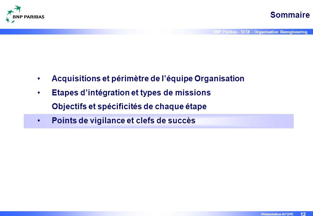 12 BNP Paribas - SFDI – Organisation Reengineering Présentation AFOPE Sommaire Acquisitions et périmètre de l'équipe Organisation Etapes d'intégration
