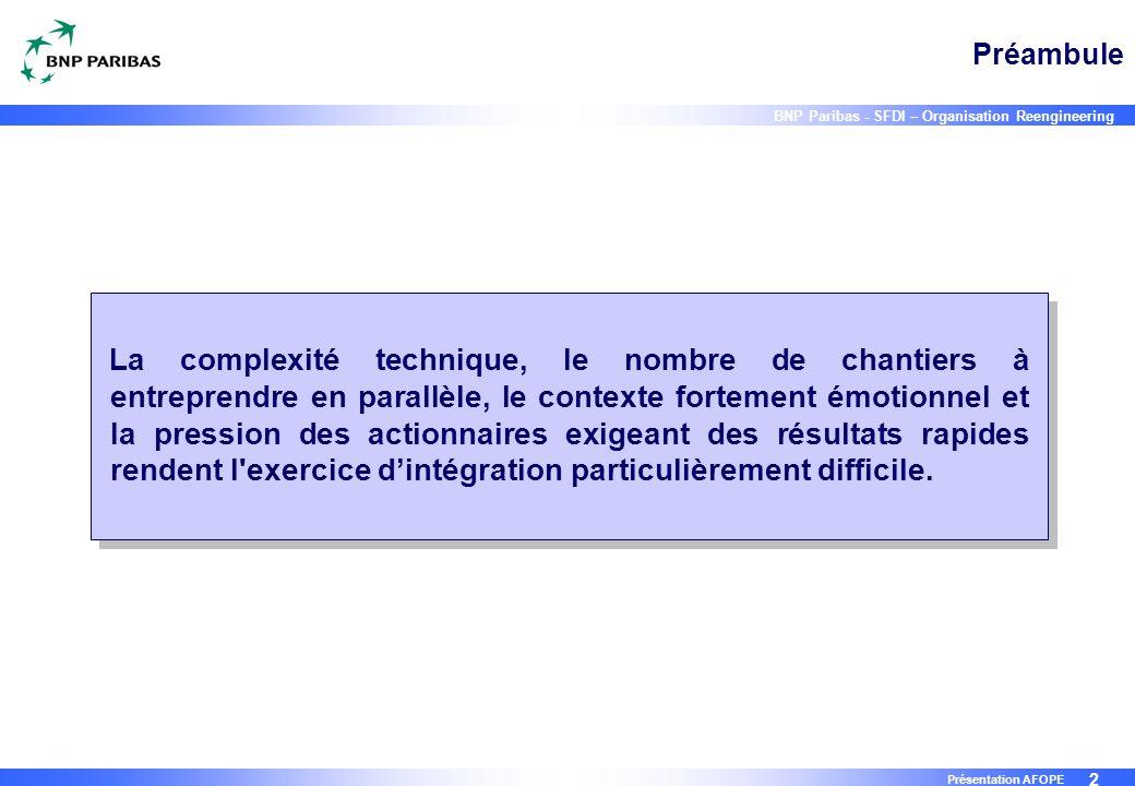 2 BNP Paribas - SFDI – Organisation Reengineering Présentation AFOPE Préambule La complexité technique, le nombre de chantiers à entreprendre en paral