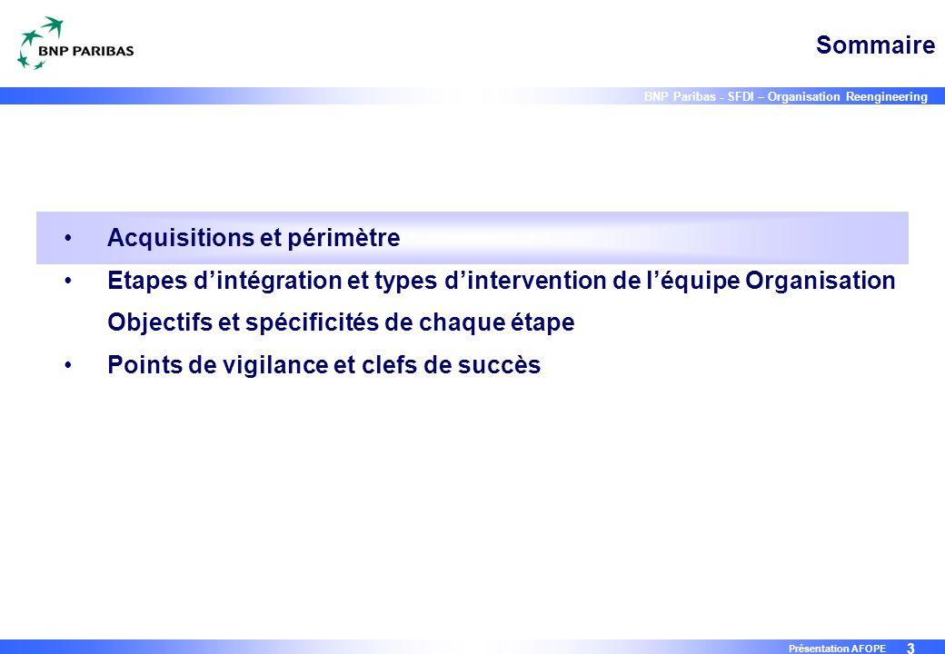 3 BNP Paribas - SFDI – Organisation Reengineering Présentation AFOPE Sommaire Acquisitions et périmètre Etapes d'intégration et types d'intervention d