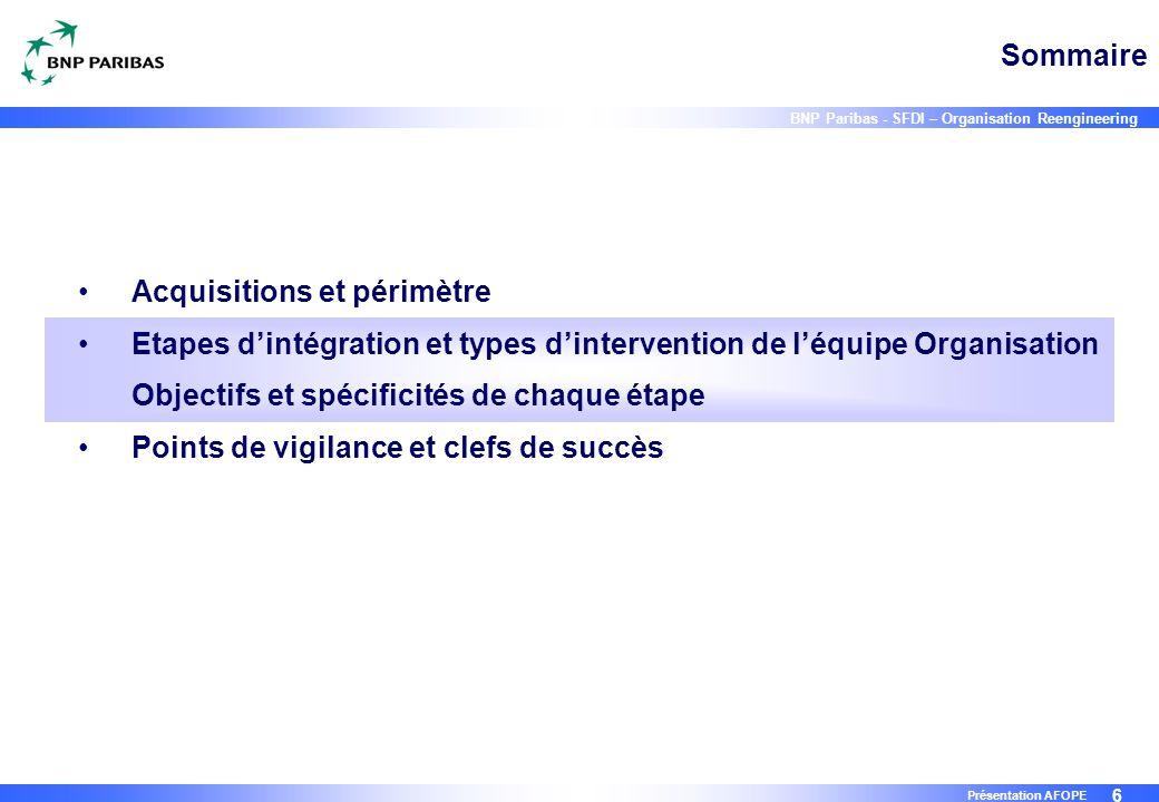 6 BNP Paribas - SFDI – Organisation Reengineering Présentation AFOPE Sommaire Acquisitions et périmètre Etapes d'intégration et types d'intervention d