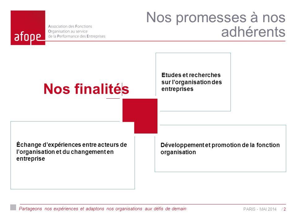 Partageons nos expériences et adaptons nos organisations aux défis de demain Nos promesses à nos adhérents PARIS - MAI 2014/ 2 Échange d'expériences entre acteurs de l'organisation et du changement en entreprise Développement et promotion de la fonction organisation Etudes et recherches sur l'organisation des entreprises Nos finalités