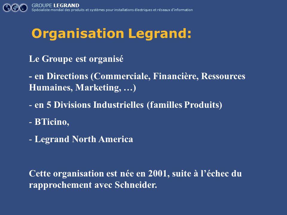 GROUPE LEGRAND Spécialiste mondial des produits et systèmes pour installations électriques et réseaux d'information Organisation Legrand: Le Groupe es