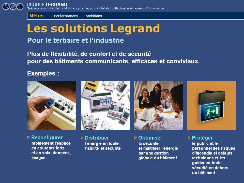 GROUPE LEGRAND Spécialiste mondial des produits et systèmes pour installations électriques et réseaux d'information Métier Performances Ambitions Pour