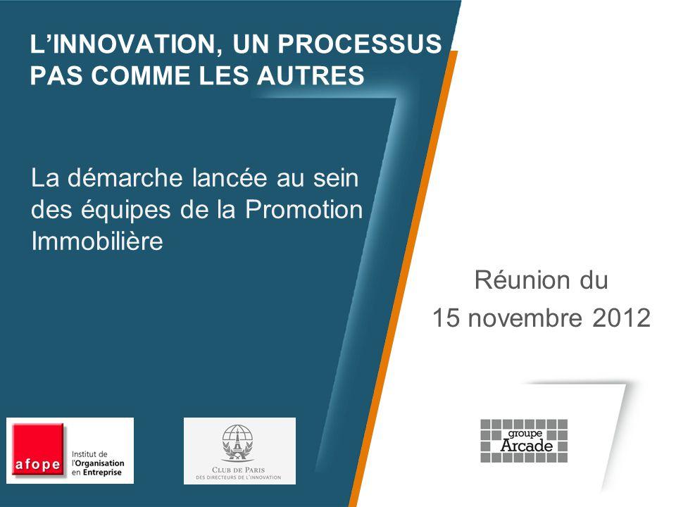 L'INNOVATION, UN PROCESSUS PAS COMME LES AUTRES Réunion du 15 novembre 2012 La démarche lancée au sein des équipes de la Promotion Immobilière