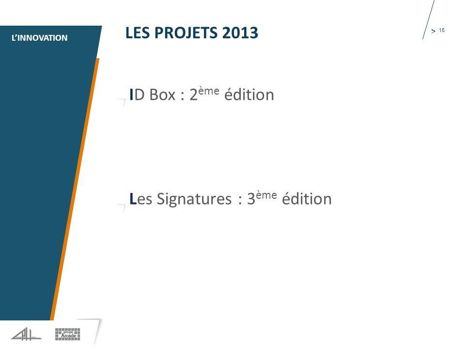 1 > 15 LES PROJETS 2013 ID Box : 2 ème édition Les Signatures : 3 ème édition L'INNOVATION