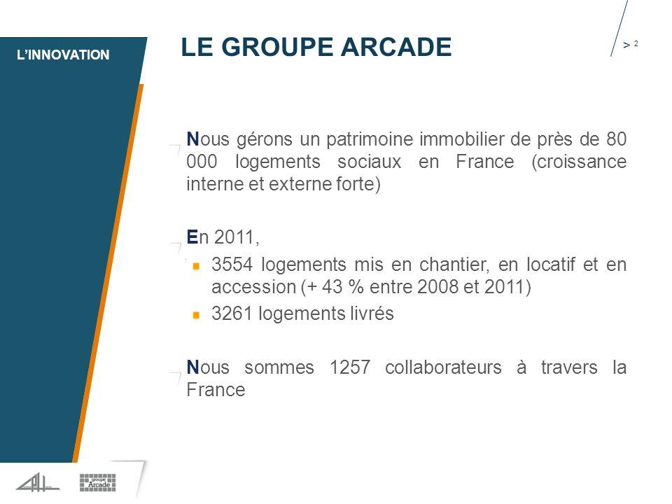 1 > 2 LE GROUPE ARCADE Nous gérons un patrimoine immobilier de près de 80 000 logements sociaux en France (croissance interne et externe forte) En 2011, 3554 logements mis en chantier, en locatif et en accession (+ 43 % entre 2008 et 2011) 3261 logements livrés Nous sommes 1257 collaborateurs à travers la France L'INNOVATION