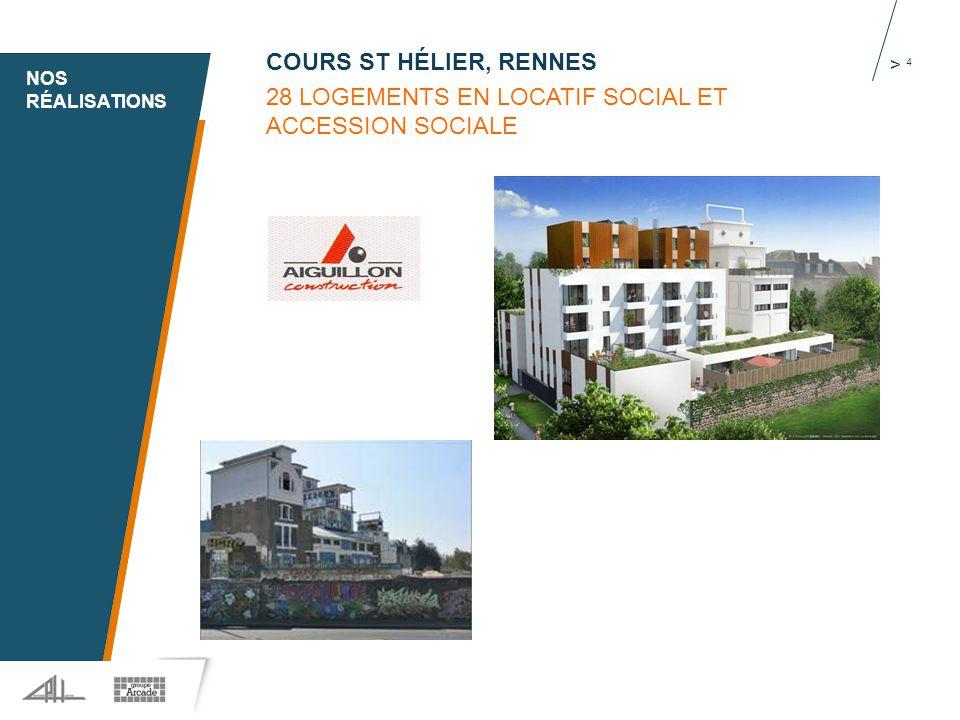 1 > 4 COURS ST HÉLIER, RENNES 28 LOGEMENTS EN LOCATIF SOCIAL ET ACCESSION SOCIALE NOS RÉALISATIONS
