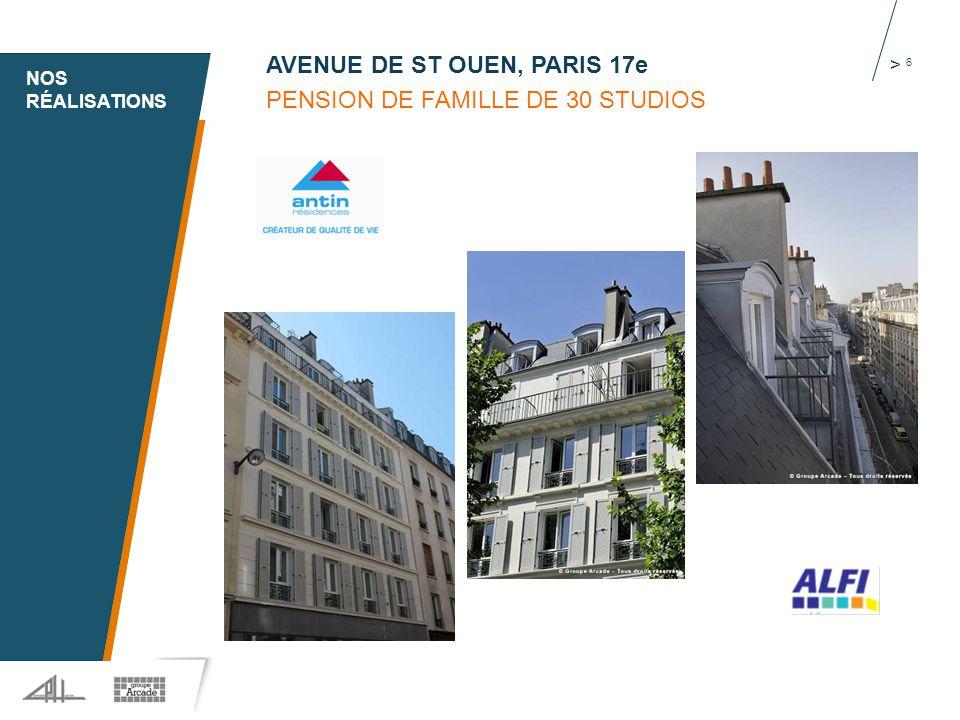 1 > 6 AVENUE DE ST OUEN, PARIS 17e PENSION DE FAMILLE DE 30 STUDIOS NOS RÉALISATIONS