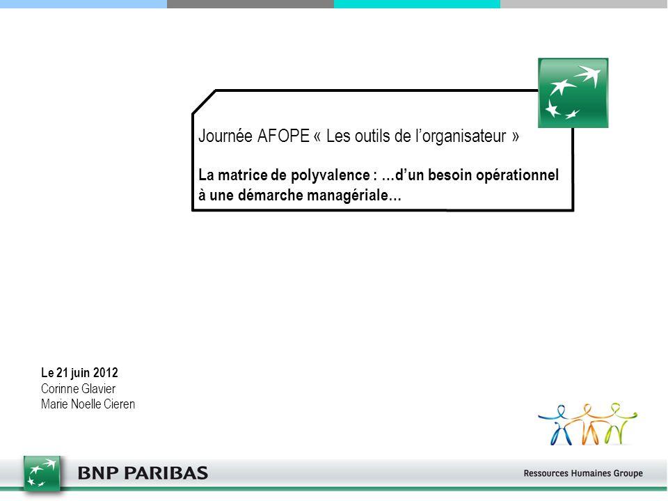 Journée AFOPE « Les outils de l'organisateur » La matrice de polyvalence : …d'un besoin opérationnel à une démarche managériale… Le 21 juin 2012 Corin