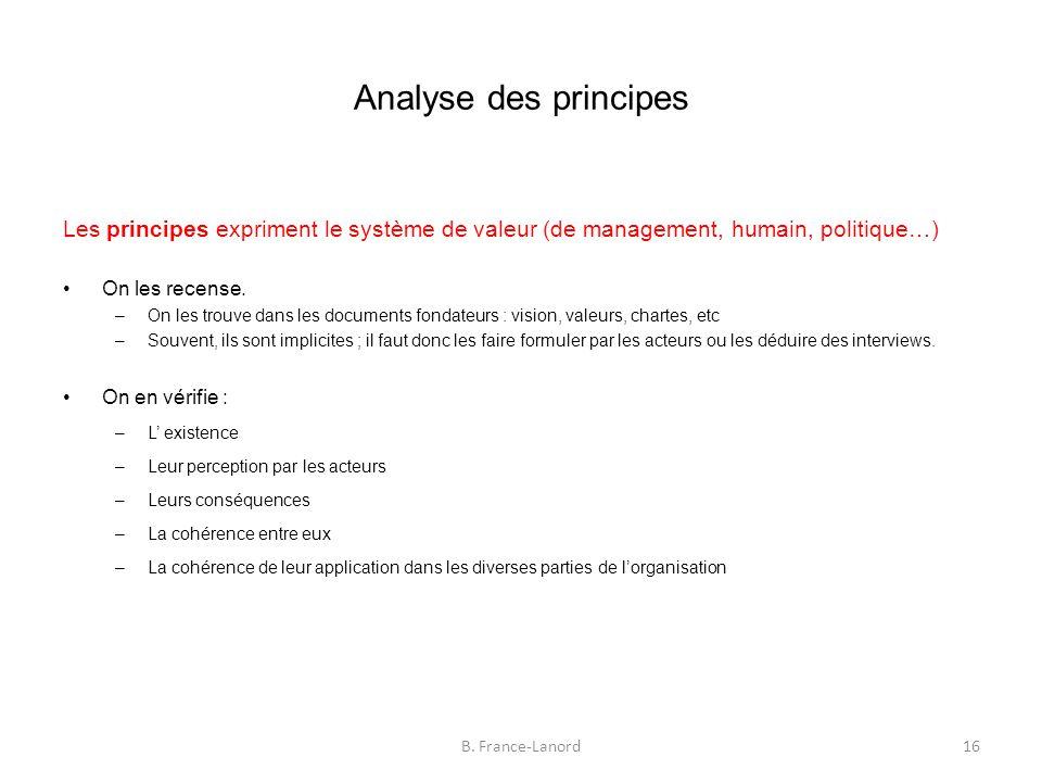 Analyse des principes Les principes expriment le système de valeur (de management, humain, politique…) On les recense.