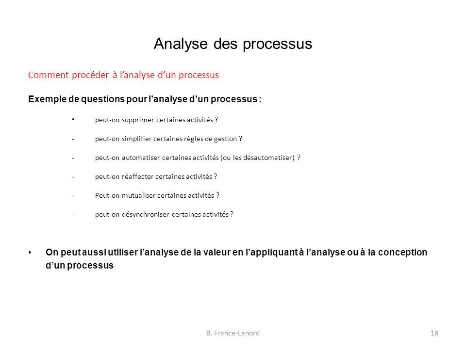 Analyse des processus Comment procéder à l'analyse d'un processus Exemple de questions pour l'analyse d'un processus : peut-on supprimer certaines activités .