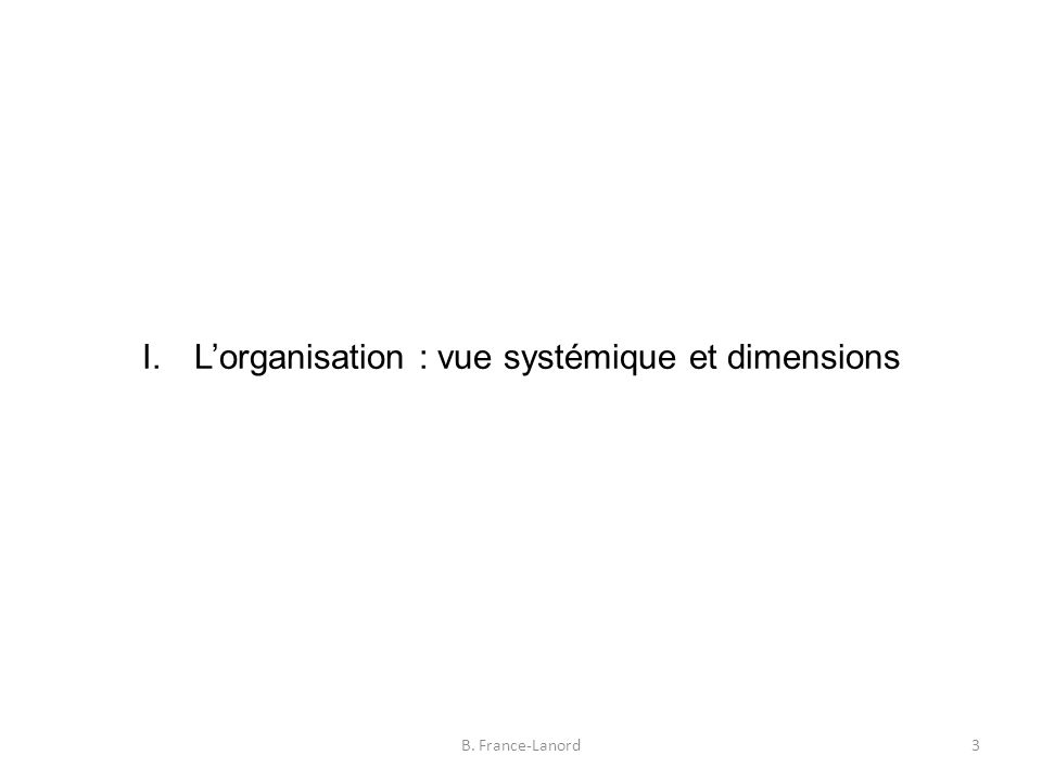 I.L'organisation : vue systémique et dimensions 3B. France-Lanord