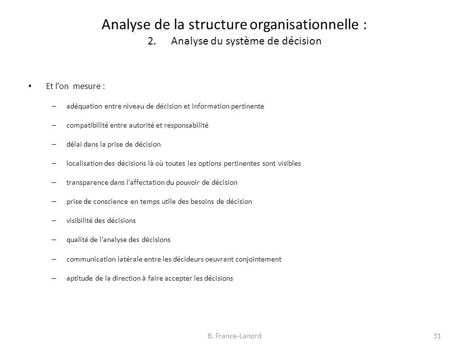 Analyse de la structure organisationnelle : 2.Analyse du système de décision 31B.