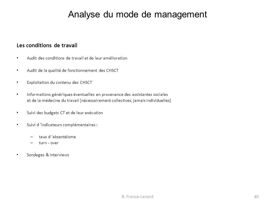 Analyse du mode de management 40B.