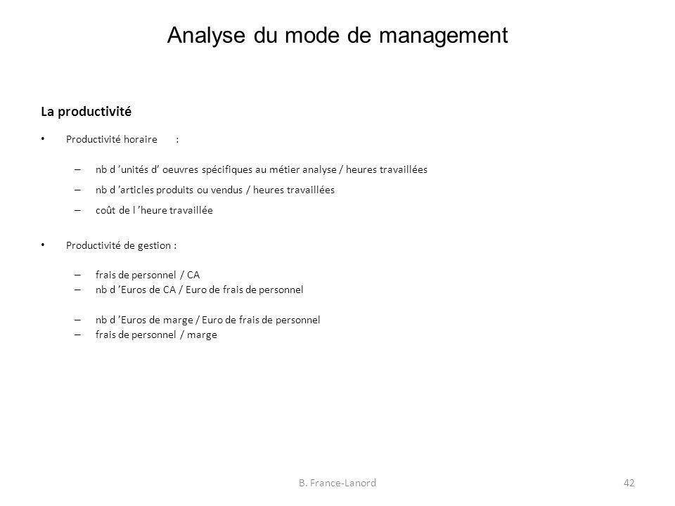 Analyse du mode de management 42B.