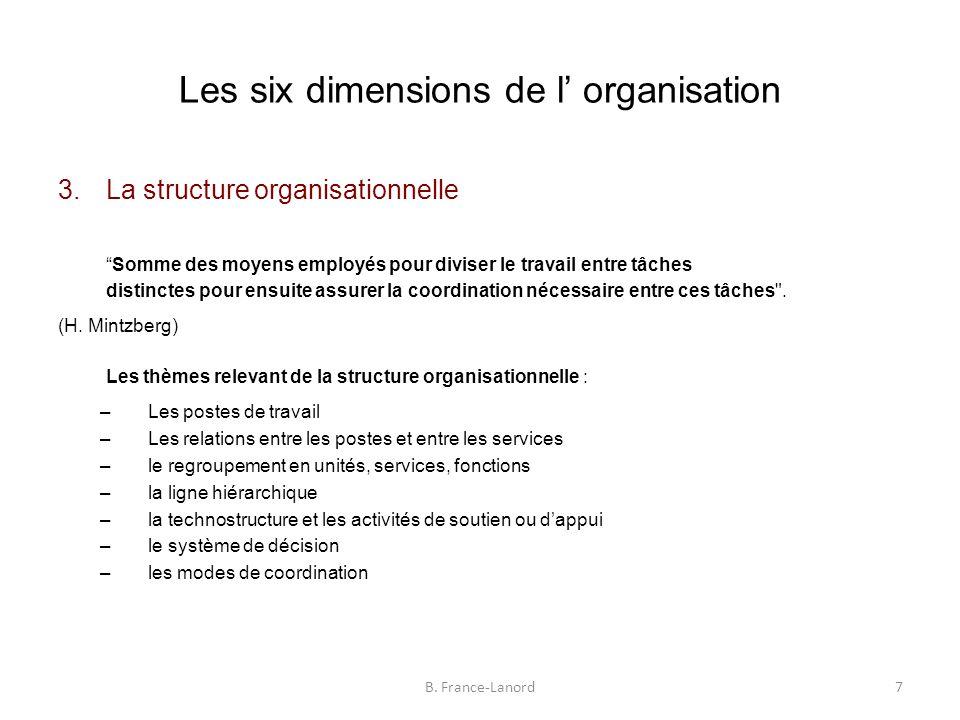 Les six dimensions de l' organisation 3.La structure organisationnelle Somme des moyens employés pour diviser le travail entre tâches distinctes pour ensuite assurer la coordination nécessaire entre ces tâches .