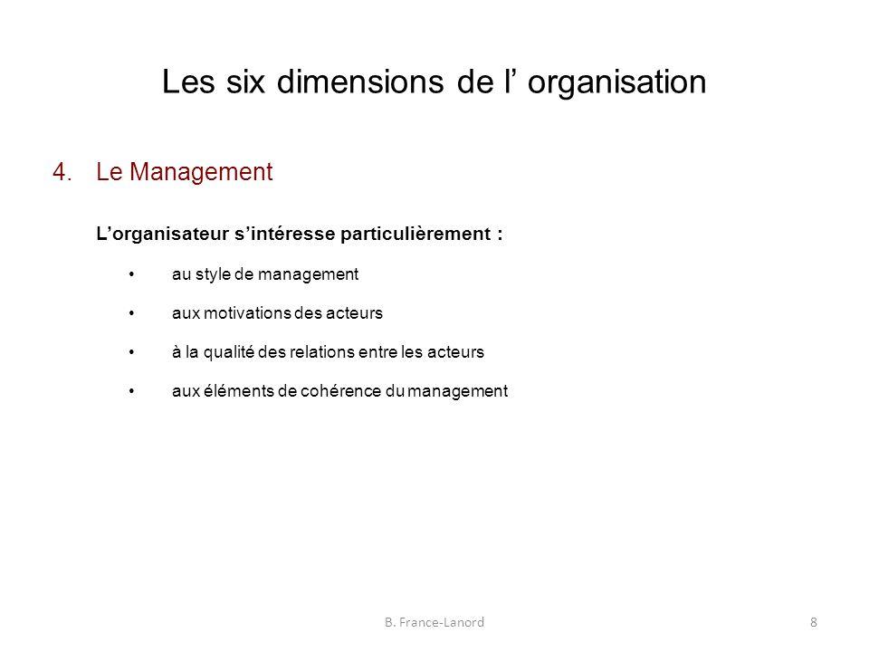 Les six dimensions de l' organisation 4.Le Management L'organisateur s'intéresse particulièrement : au style de management aux motivations des acteurs à la qualité des relations entre les acteurs aux éléments de cohérence du management 8B.