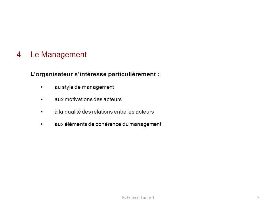 4.Le Management L'organisateur s'intéresse particulièrement : au style de management aux motivations des acteurs à la qualité des relations entre les acteurs aux éléments de cohérence du management B.