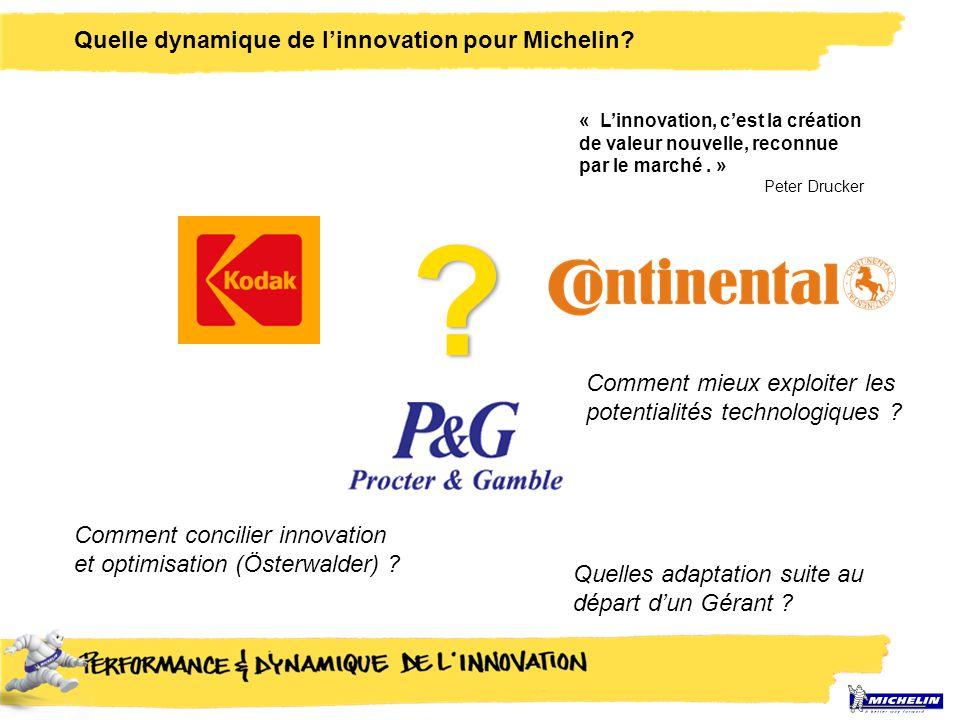 Quelle dynamique de l'innovation pour Michelin? ? Quelles adaptation suite au départ d'un Gérant ? Comment concilier innovation et optimisation (Öster
