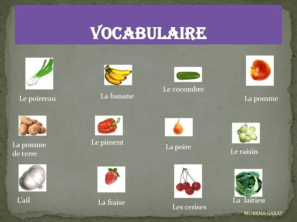 Le poirreau Le raisin La banane Le cocombre La pomme de terre Le piment La poire L'ail La fraise Les cerises La laitieu MORENA GARAY