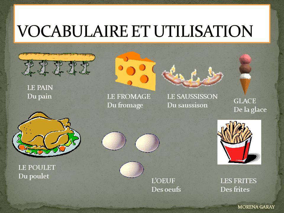 LE PAIN Du pain LE FROMAGE Du fromage LE SAUSSISSON Du saussison GLACE De la glace LE POULET Du poulet L'OEUF Des oeufs LES FRITES Des frites MORENA G