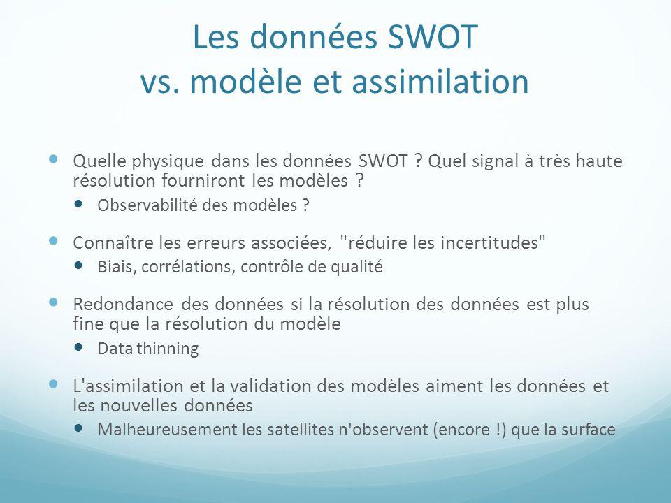 Les données SWOT vs. modèle et assimilation Quelle physique dans les données SWOT .