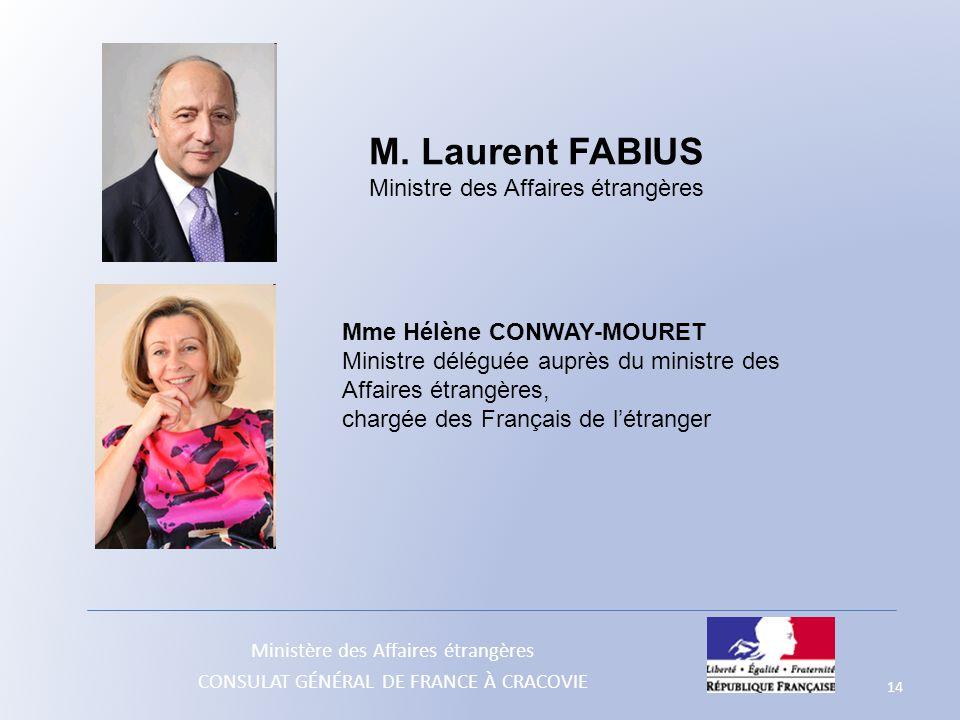 Ministère des Affaires étrangères CONSULAT GÉNÉRAL DE FRANCE À CRACOVIE 14 M. Laurent FABIUS Ministre des Affaires étrangères Mme Hélène CONWAY-MOURET