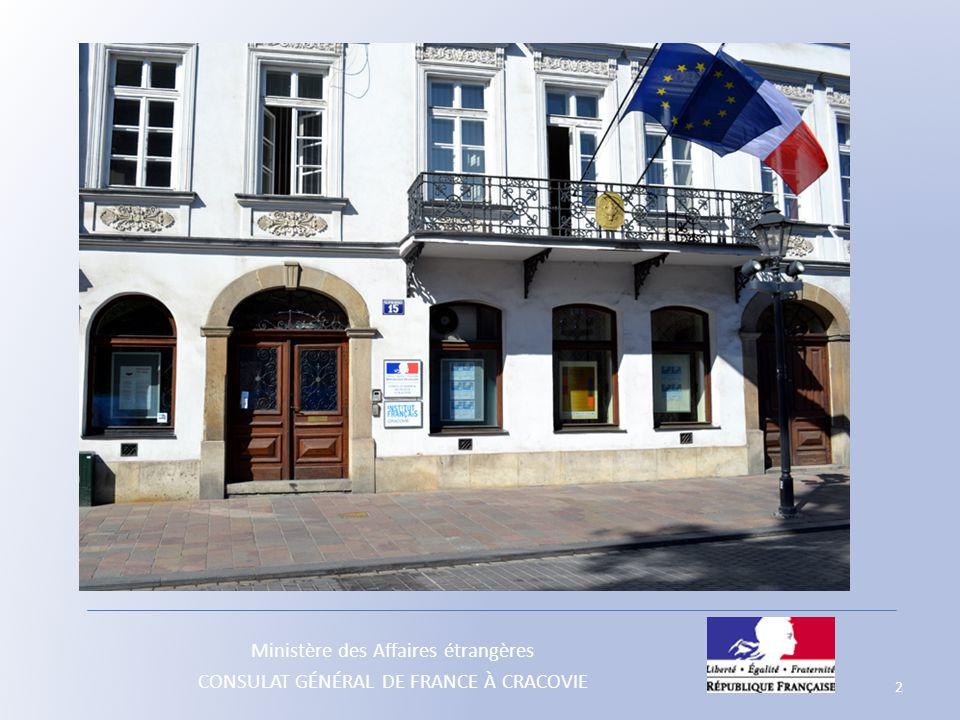 Ministère des Affaires étrangères CONSULAT GÉNÉRAL DE FRANCE À CRACOVIE - à l'Assemblée des Français à l'étranger (AFE) : - Conseillers de la circonscription électorale de Vienne (Europe centrale, dont la Pologne) Mme Anne GUILLET, qui a succédé en 2011 à M.