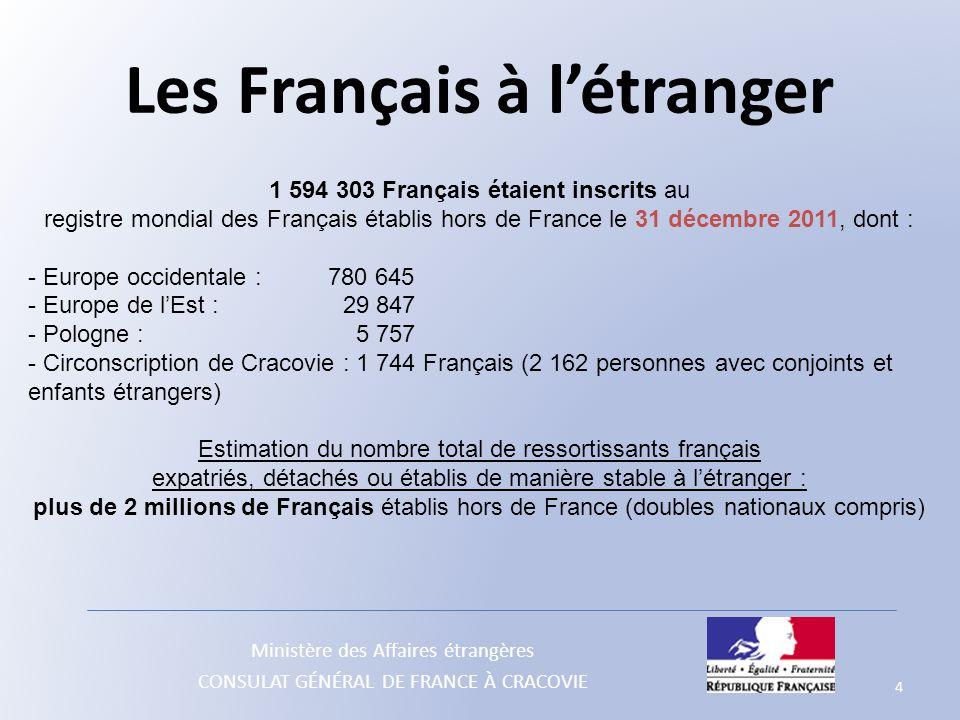 Ministère des Affaires étrangères CONSULAT GÉNÉRAL DE FRANCE À CRACOVIE 4 1 594 303 Français étaient inscrits au registre mondial des Français établis