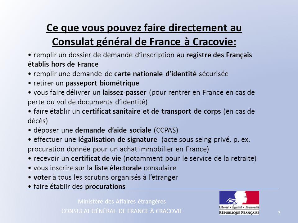 Ministère des Affaires étrangères CONSULAT GÉNÉRAL DE FRANCE À CRACOVIE Ce que vous pouvez faire directement au Consulat général de France à Cracovie: