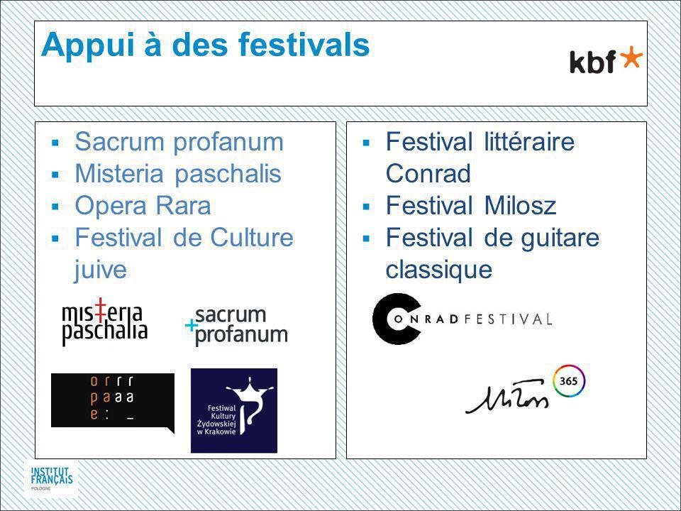 Appui à des festivals  Sacrum profanum  Misteria paschalis  Opera Rara  Festival de Culture juive  Festival littéraire Conrad  Festival Milosz  Festival de guitare classique