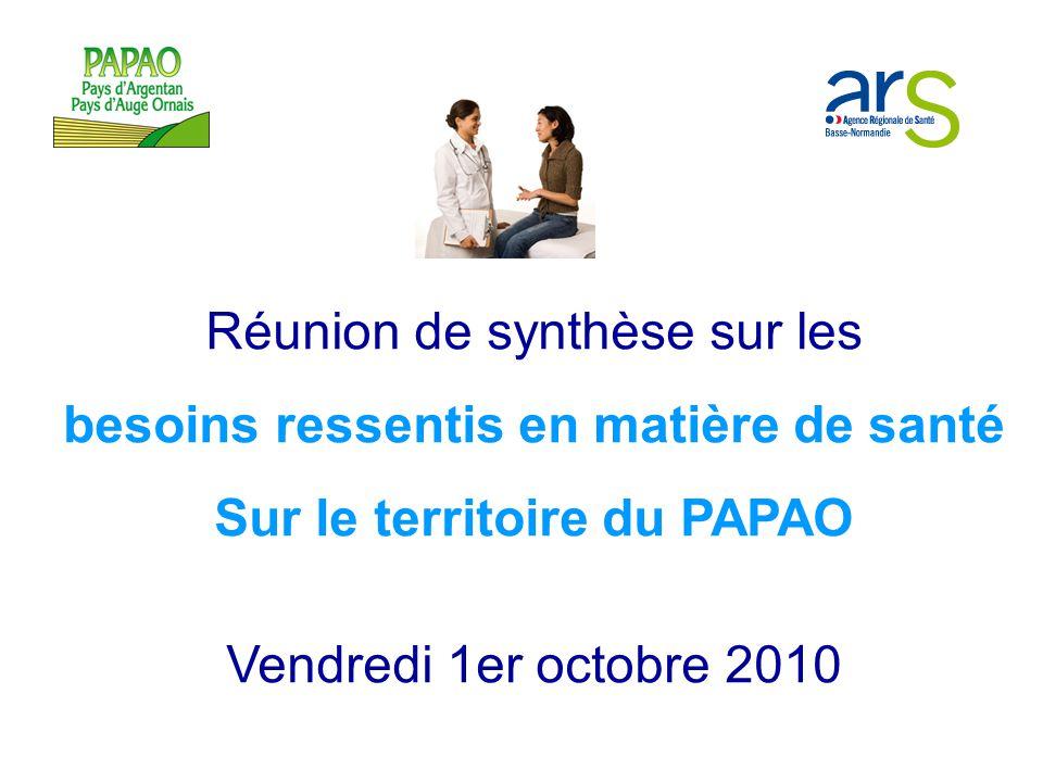 Réunion de synthèse sur les besoins ressentis en matière de santé Sur le territoire du PAPAO Vendredi 1er octobre 2010