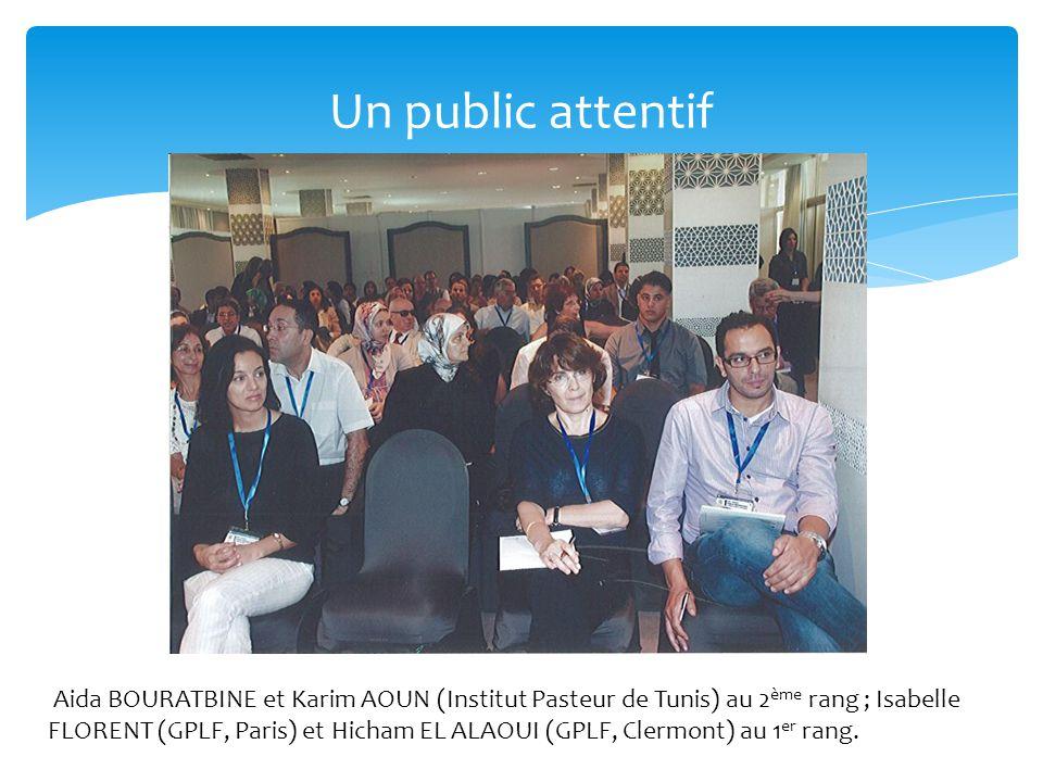 Un public attentif Aida BOURATBINE et Karim AOUN (Institut Pasteur de Tunis) au 2 ème rang ; Isabelle FLORENT (GPLF, Paris) et Hicham EL ALAOUI (GPLF,