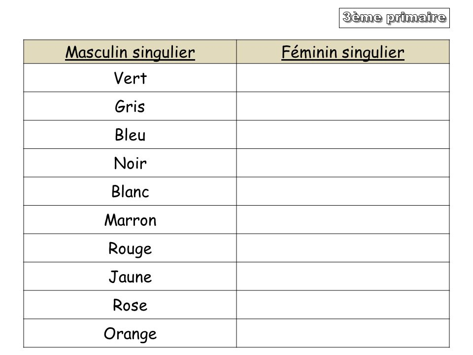 Masculin singulierFéminin singulier Vert Gris Bleu Noir Blanc Marron Rouge Jaune Rose Orange