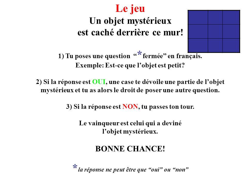 """Le jeu Un objet mystérieux est caché derrière ce mur! 1) Tu poses une question """" * fermée"""" en français. Exemple: Est-ce que l'objet est petit? 2) Si l"""
