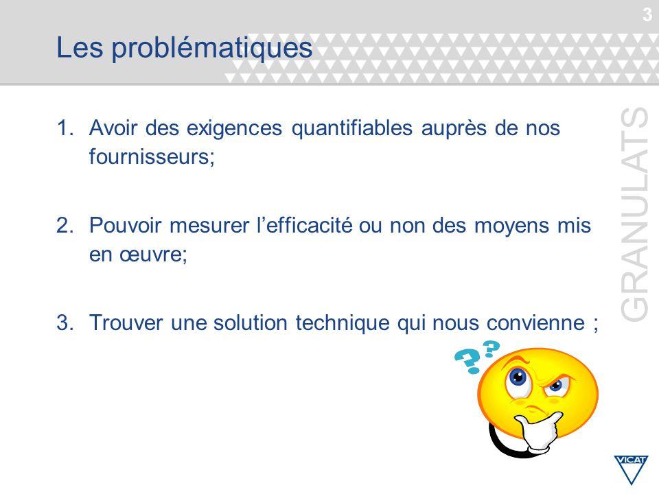 3 GRANULATS Les problématiques 1.Avoir des exigences quantifiables auprès de nos fournisseurs; 2.Pouvoir mesurer l'efficacité ou non des moyens mis en