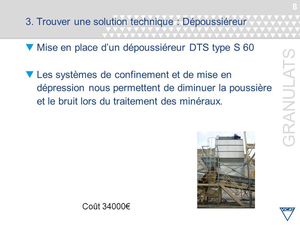 8 GRANULATS 3. Trouver une solution technique : Dépoussiéreur Mise en place d'un dépoussiéreur DTS type S 60 Les systèmes de confinement et de mise en