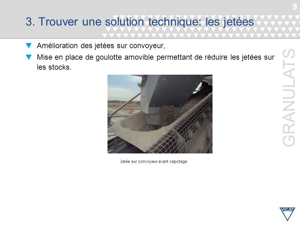 9 GRANULATS 3. Trouver une solution technique: les jetées Amélioration des jetées sur convoyeur, Mise en place de goulotte amovible permettant de rédu