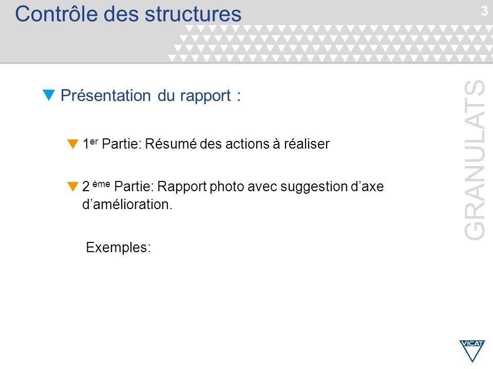 3 GRANULATS Contrôle des structures Présentation du rapport : 1 er Partie: Résumé des actions à réaliser 2 ème Partie: Rapport photo avec suggestion d