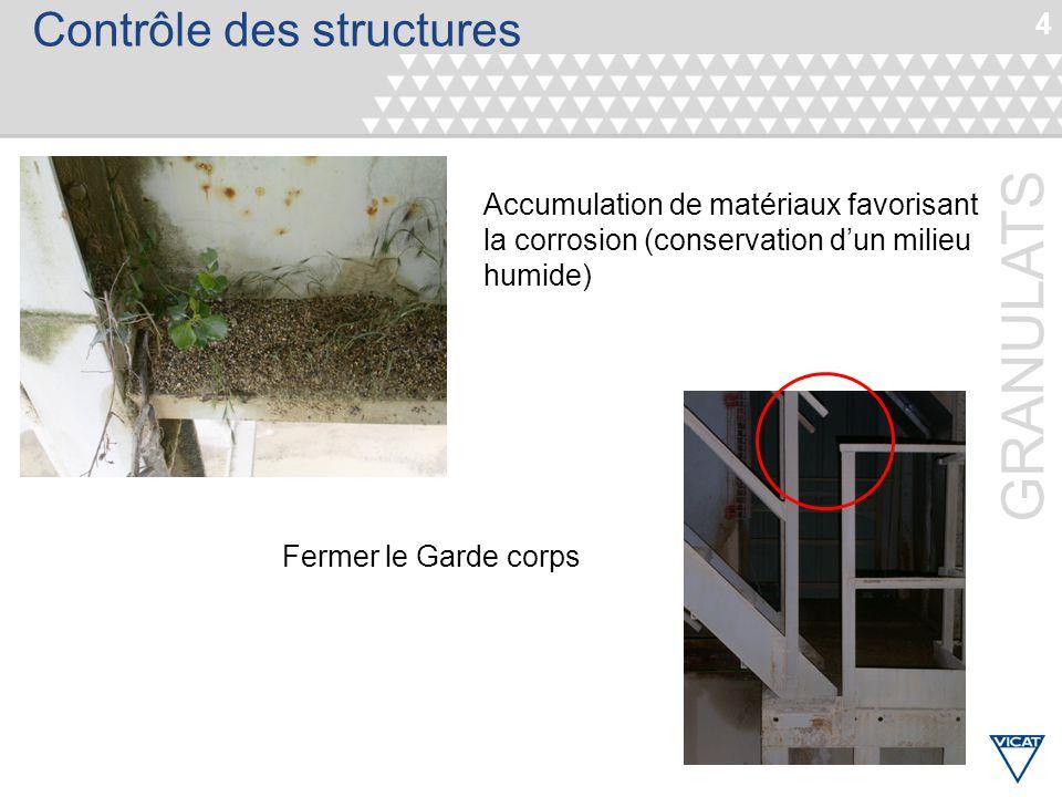 4 GRANULATS Contrôle des structures Accumulation de matériaux favorisant la corrosion (conservation d'un milieu humide) Fermer le Garde corps