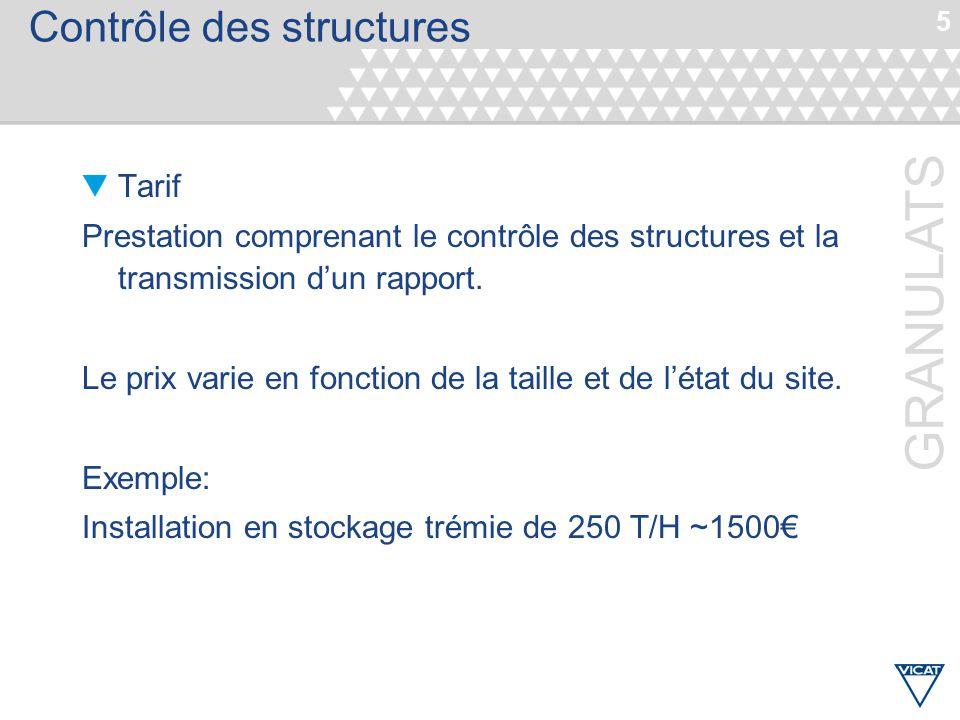 5 GRANULATS Contrôle des structures Tarif Prestation comprenant le contrôle des structures et la transmission d'un rapport. Le prix varie en fonction