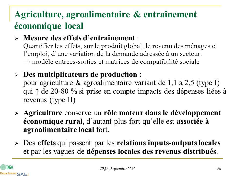 CEJA, September 2010 20 Agriculture, agroalimentaire & entraînement économique local  Mesure des effets d'entraînement : Quantifier les effets, sur le produit global, le revenu des ménages et l'emploi, d'une variation de la demande adressée à un secteur.